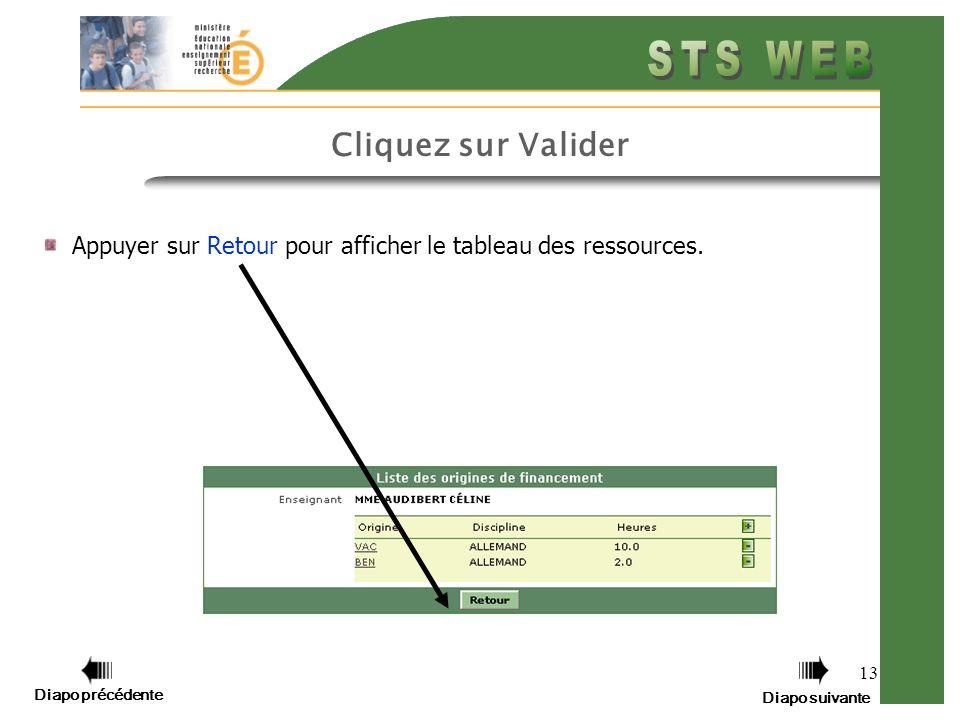 13 Cliquez sur Valider Appuyer sur Retour pour afficher le tableau des ressources.