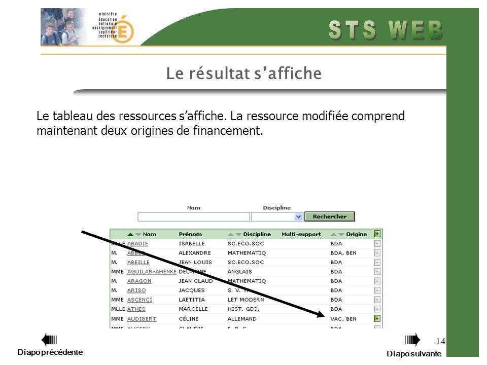 14 Le résultat saffiche Le tableau des ressources saffiche.