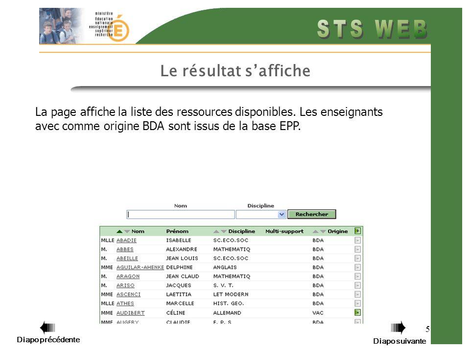 5 Le résultat saffiche La page affiche la liste des ressources disponibles.