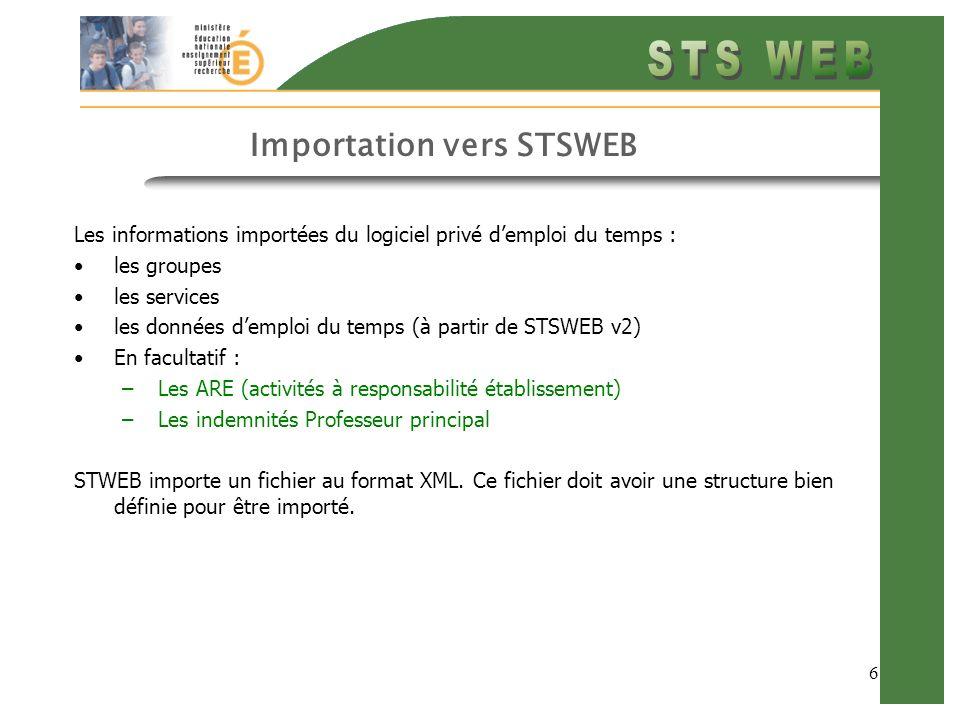 6 Importation vers STSWEB Les informations importées du logiciel privé demploi du temps : les groupes les services les données demploi du temps (à partir de STSWEB v2) En facultatif : –Les ARE (activités à responsabilité établissement) –Les indemnités Professeur principal STWEB importe un fichier au format XML.