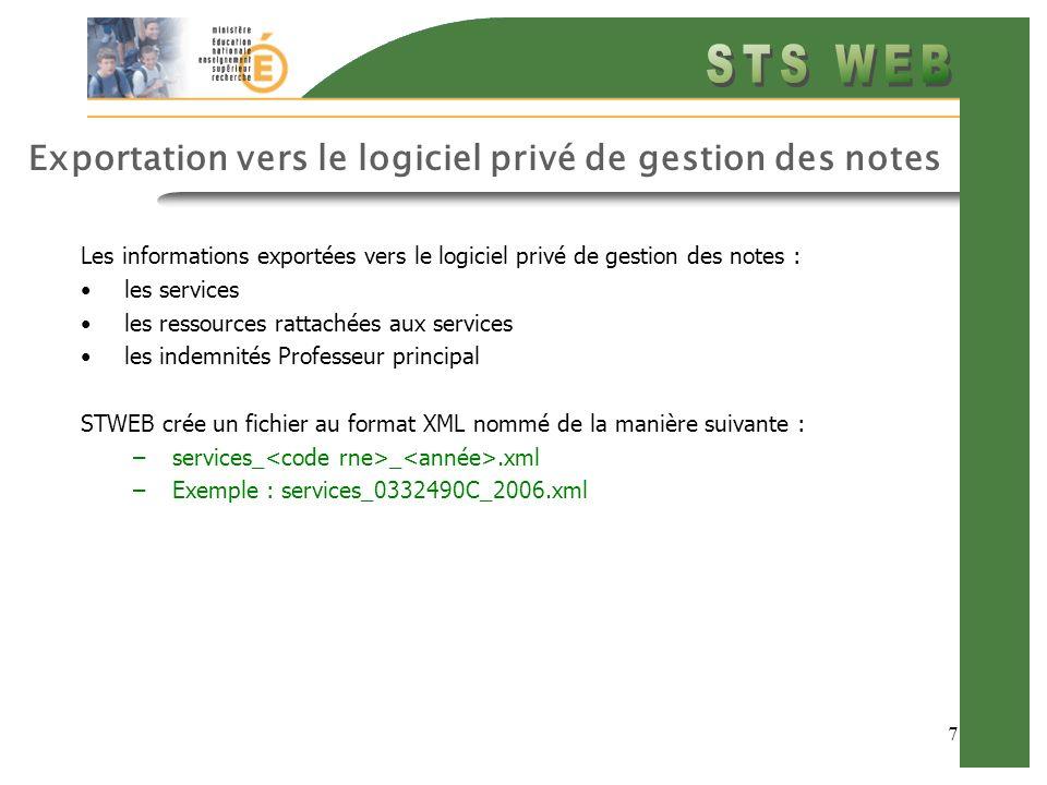7 Exportation vers le logiciel privé de gestion des notes Les informations exportées vers le logiciel privé de gestion des notes : les services les re