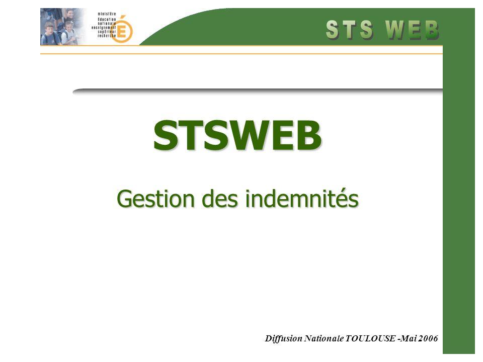 Diffusion Nationale TOULOUSE -Mai 2006 STSWEB Gestion des indemnités