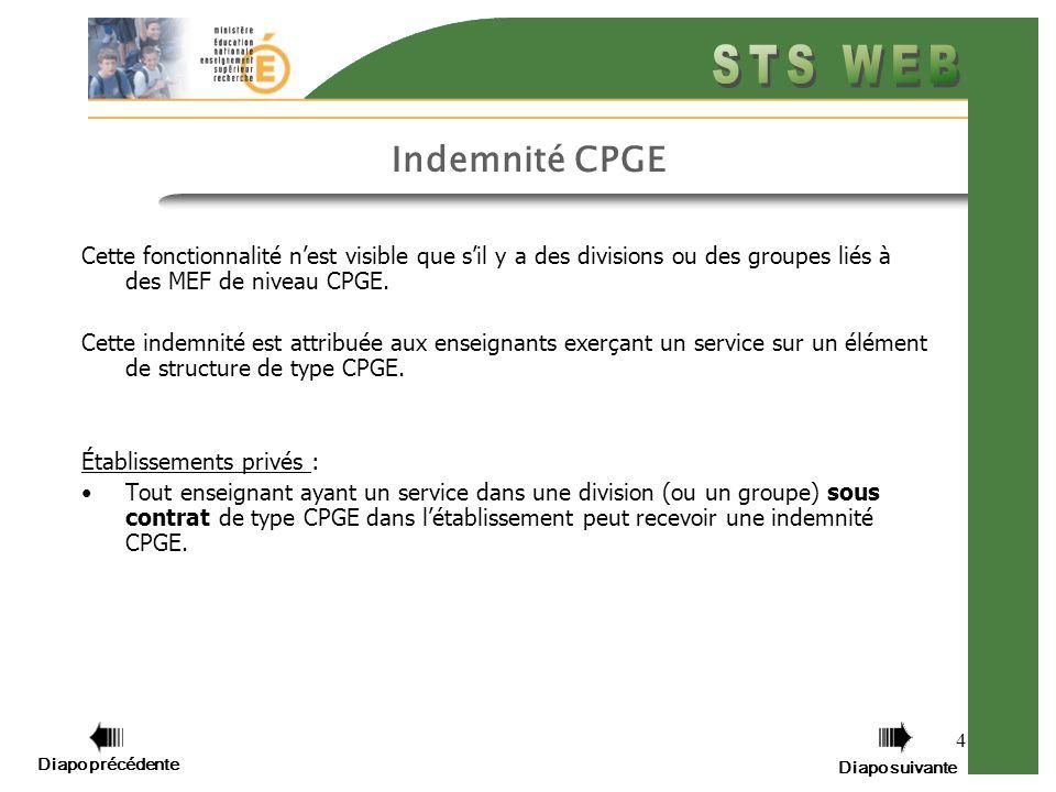 Diapo précédente Diapo suivante 4 Indemnité CPGE Cette fonctionnalité nest visible que sil y a des divisions ou des groupes liés à des MEF de niveau CPGE.