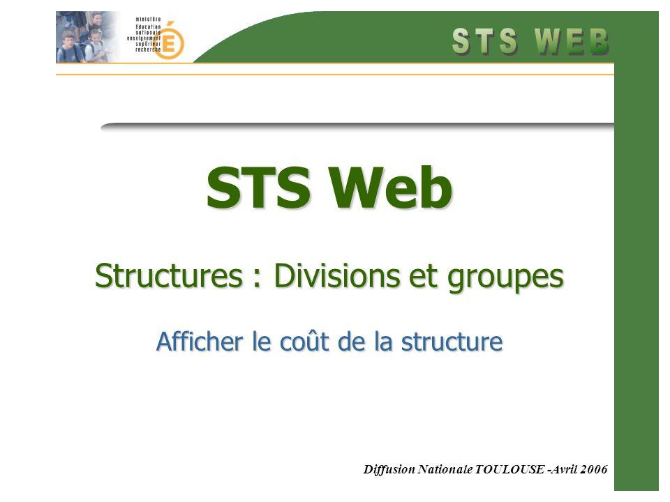 Diffusion Nationale TOULOUSE -Avril 2006 STS Web Structures : Divisions et groupes Afficher le coût de la structure