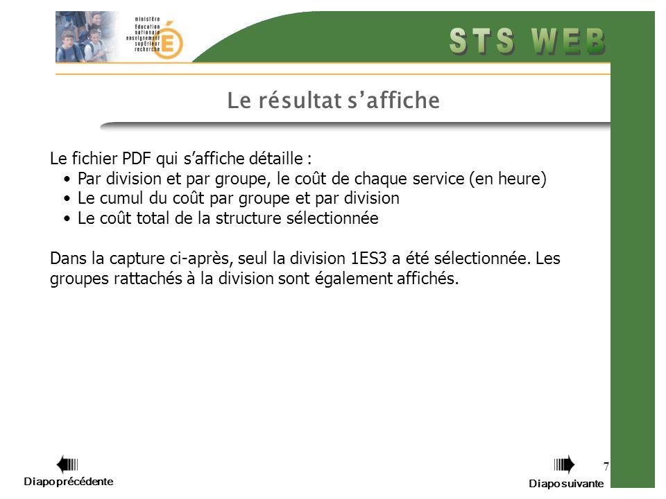 7 Le résultat saffiche Le fichier PDF qui saffiche détaille : Par division et par groupe, le coût de chaque service (en heure) Le cumul du coût par gr