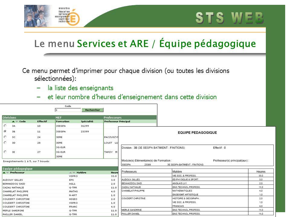 Diapo précédente Diapo suivante 10 Le menu Services et ARE / Équipe pédagogique Ce menu permet dimprimer pour chaque division (ou toutes les divisions