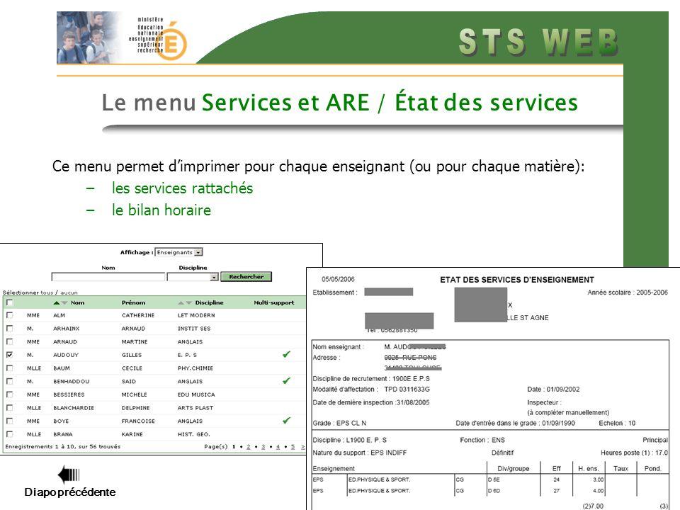 Diapo précédente Diapo suivante 11 Le menu Services et ARE / État des services Ce menu permet dimprimer pour chaque enseignant (ou pour chaque matière): –les services rattachés –le bilan horaire