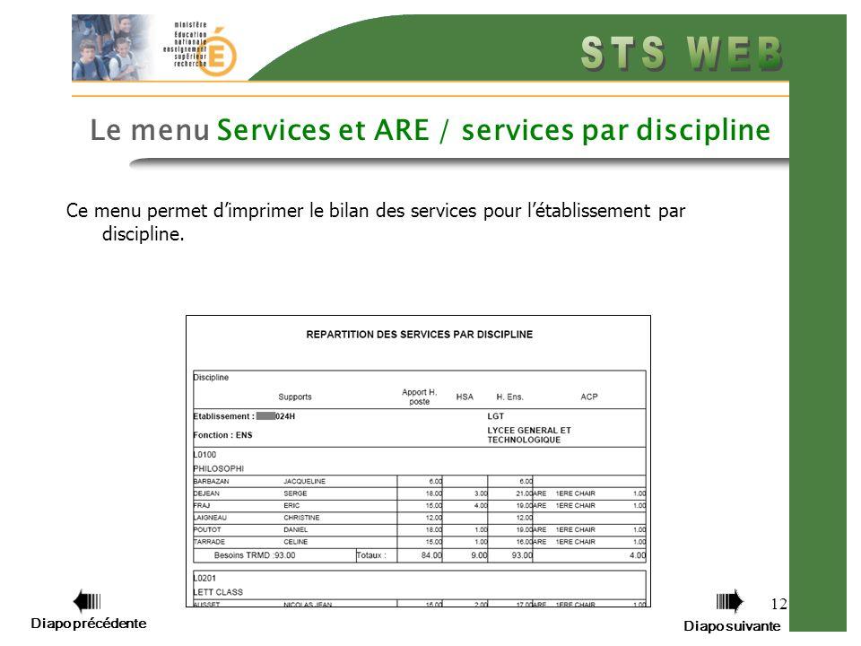 Diapo précédente Diapo suivante 12 Le menu Services et ARE / services par discipline Ce menu permet dimprimer le bilan des services pour létablissement par discipline.