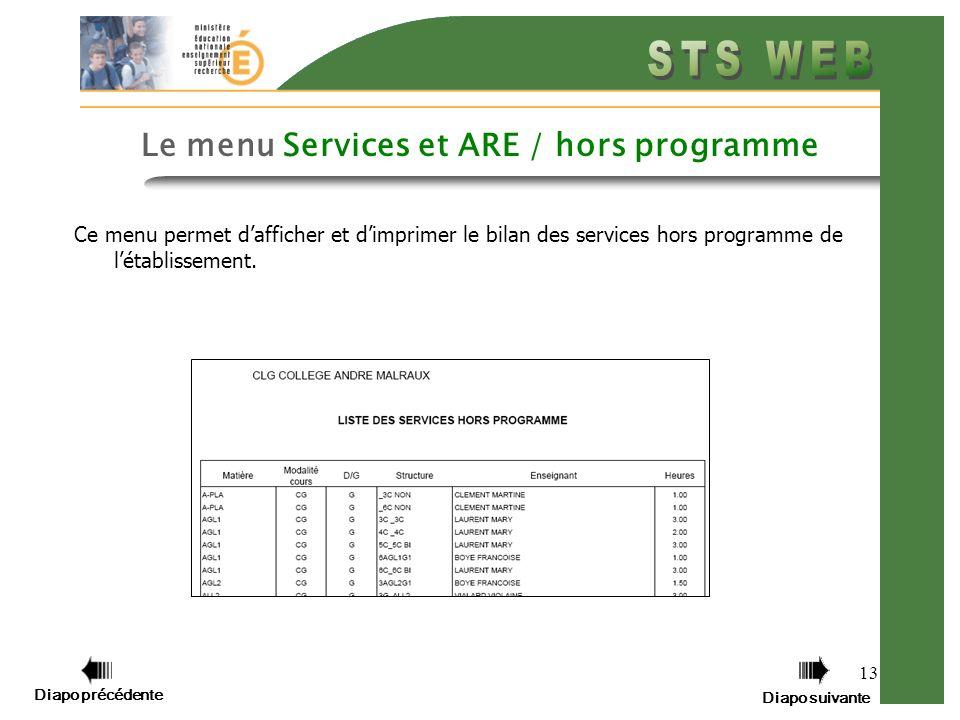 Diapo précédente Diapo suivante 13 Le menu Services et ARE / hors programme Ce menu permet dafficher et dimprimer le bilan des services hors programme de létablissement.