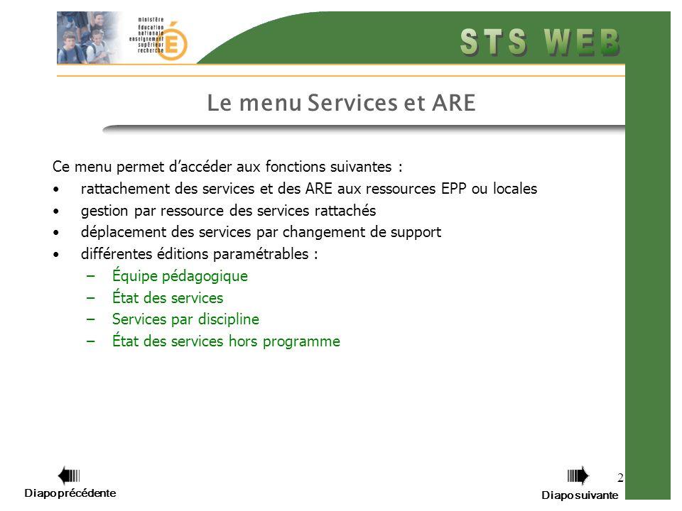 Diapo précédente Diapo suivante 2 Le menu Services et ARE Ce menu permet daccéder aux fonctions suivantes : rattachement des services et des ARE aux r