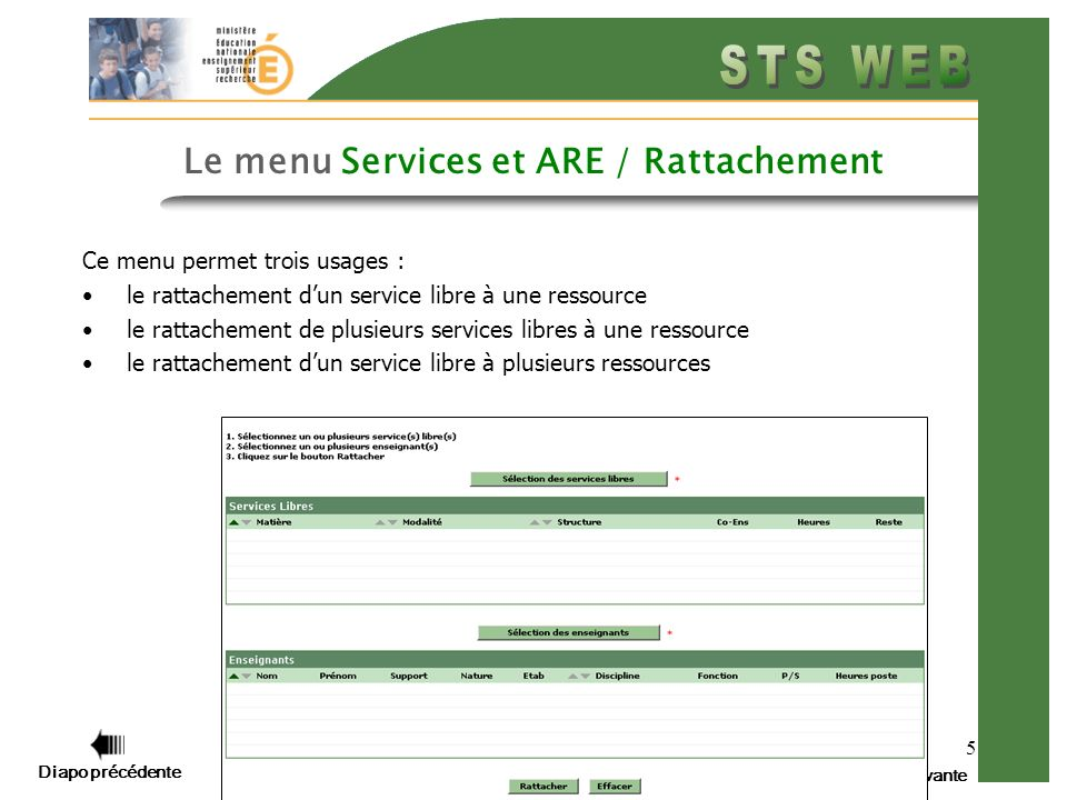 Diapo précédente Diapo suivante 5 Le menu Services et ARE / Rattachement Ce menu permet trois usages : le rattachement dun service libre à une ressource le rattachement de plusieurs services libres à une ressource le rattachement dun service libre à plusieurs ressources
