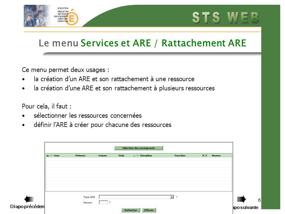 Diapo précédente Diapo suivante 6 Le menu Services et ARE / Rattachement ARE Ce menu permet deux usages : la création dun ARE et son rattachement à une ressource la création dune ARE et son rattachement à plusieurs ressources Pour cela, il faut : sélectionner les ressources concernées définir lARE à créer pour chacune des ressources