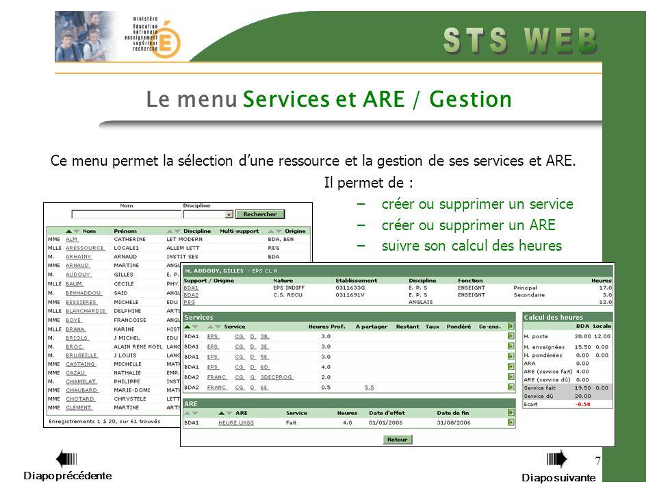 Diapo précédente Diapo suivante 7 Le menu Services et ARE / Gestion Ce menu permet la sélection dune ressource et la gestion de ses services et ARE. I