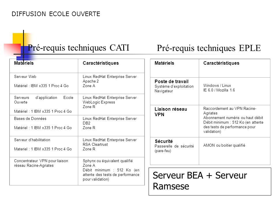 Pré-requis techniques CATI MatérielsCaractéristiques Serveur Web Matériel : IBM x335 1 Proc 4 Go Linux RedHat Enterprise Server Apache 2 Zone A Serveu