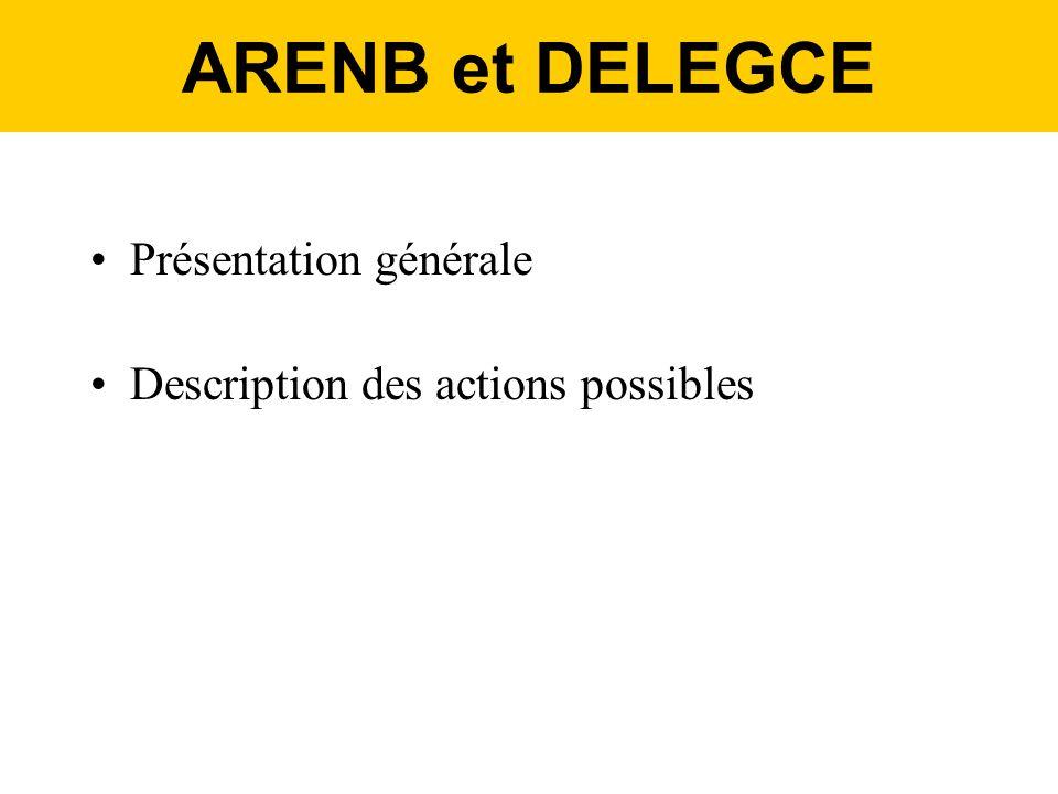 ARENB et DELEGCE Présentation générale Description des actions possibles