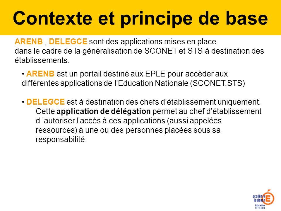 ARENB, DELEGCE sont des applications mises en place dans le cadre de la généralisation de SCONET et STS à destination des établissements. ARENB est un