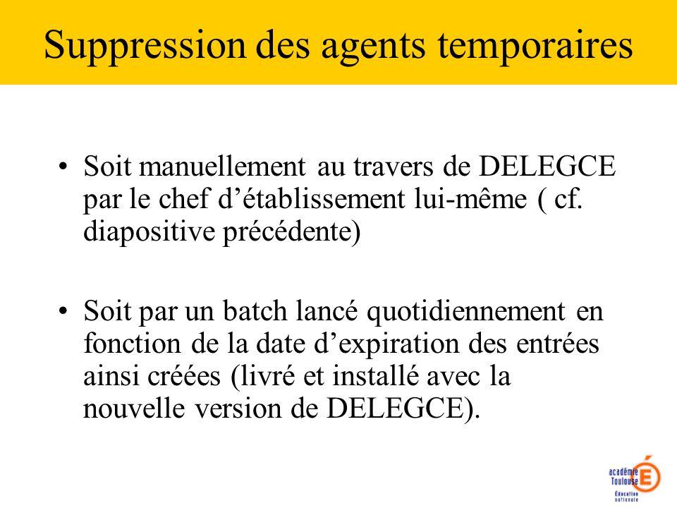 Suppression des agents temporaires Soit manuellement au travers de DELEGCE par le chef détablissement lui-même ( cf. diapositive précédente) Soit par