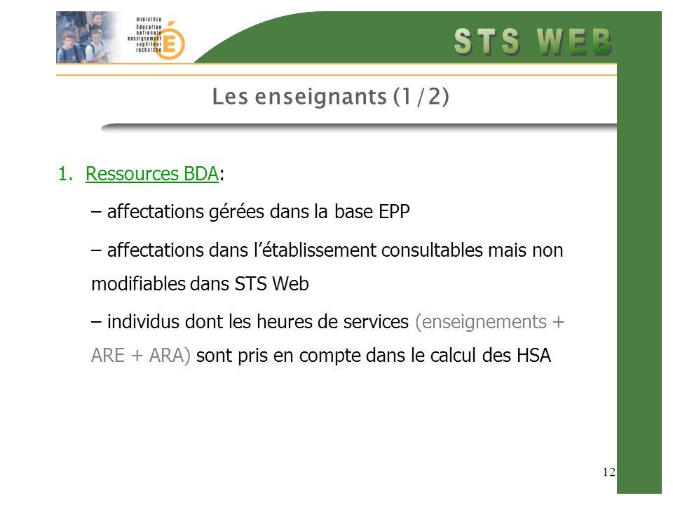 12 Les enseignants (1/2) 1.Ressources BDA: – affectations gérées dans la base EPP – affectations dans létablissement consultables mais non modifiables dans STS Web – individus dont les heures de services (enseignements + ARE + ARA) sont pris en compte dans le calcul des HSA
