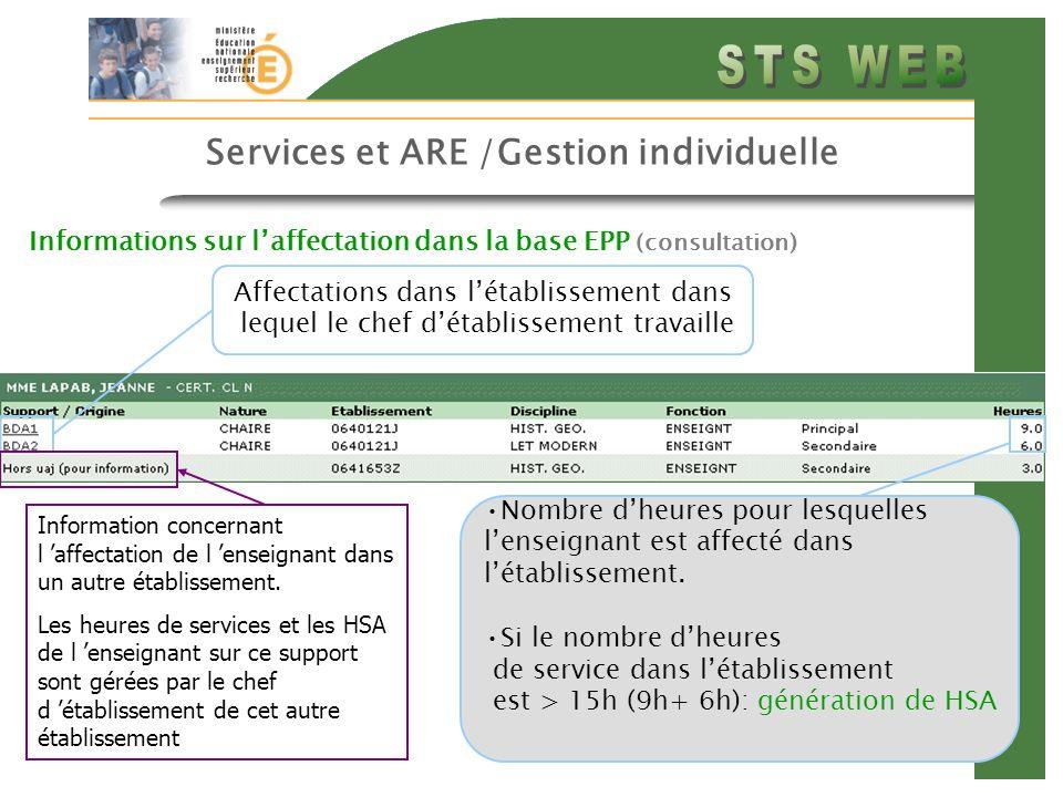 18 Services et ARE /Gestion individuelle Informations sur laffectation dans la base EPP (consultation) Affectations dans létablissement dans lequel le chef détablissement travaille Nombre dheures pour lesquelles lenseignant est affecté dans létablissement.
