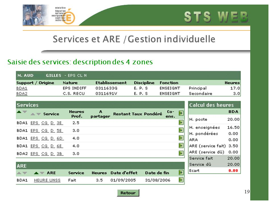 19 Services et ARE /Gestion individuelle Saisie des services: description des 4 zones
