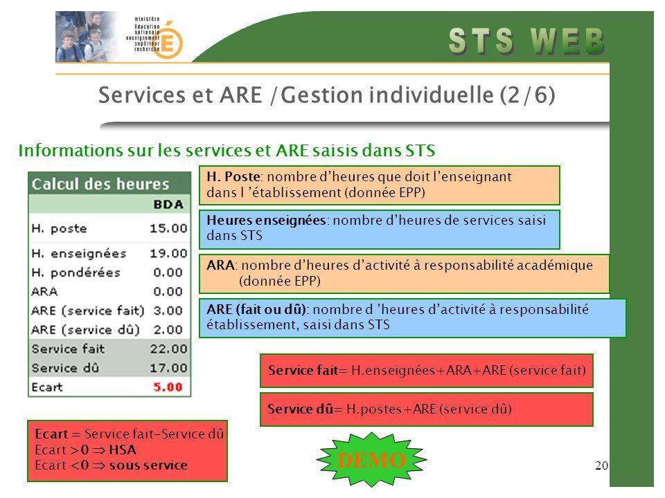 20 Services et ARE /Gestion individuelle (2/6) Informations sur les services et ARE saisis dans STS H.