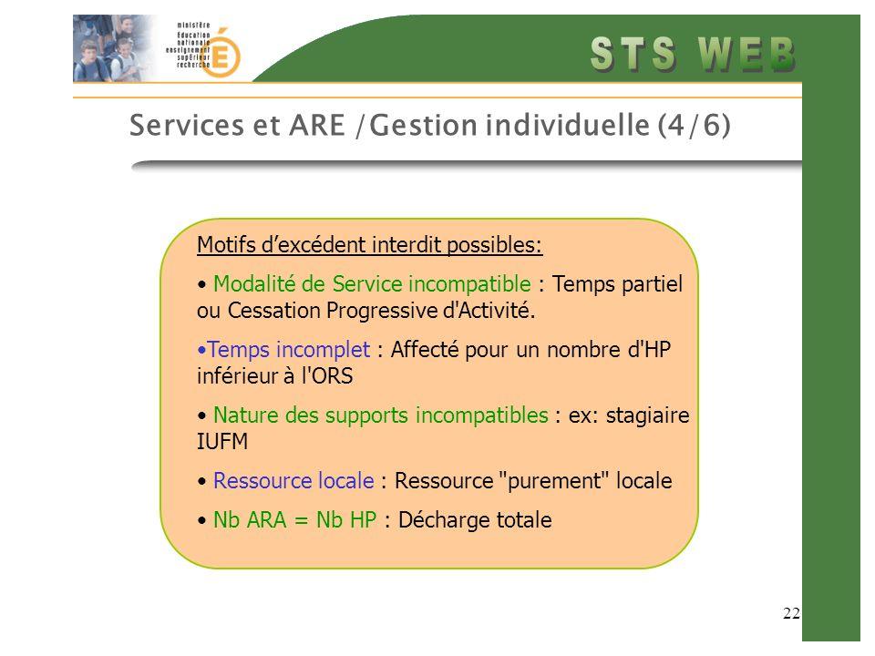 22 Services et ARE /Gestion individuelle (4/6) Motifs dexcédent interdit possibles: Modalité de Service incompatible : Temps partiel ou Cessation Progressive d Activité.