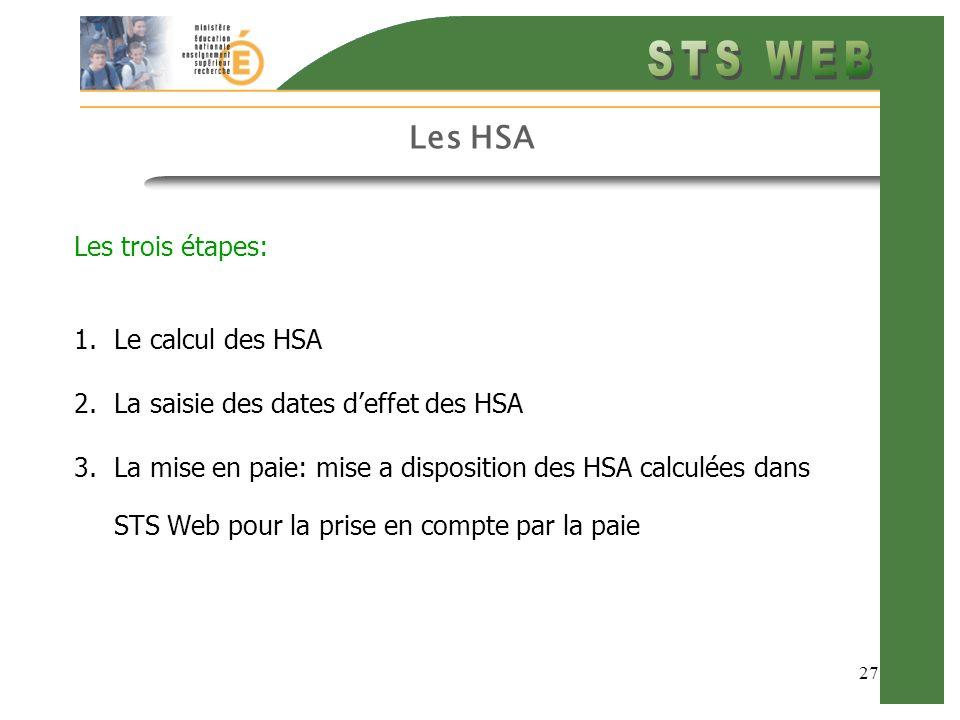 27 Les HSA Les trois étapes: 1.Le calcul des HSA 2.La saisie des dates deffet des HSA 3.La mise en paie: mise a disposition des HSA calculées dans STS Web pour la prise en compte par la paie