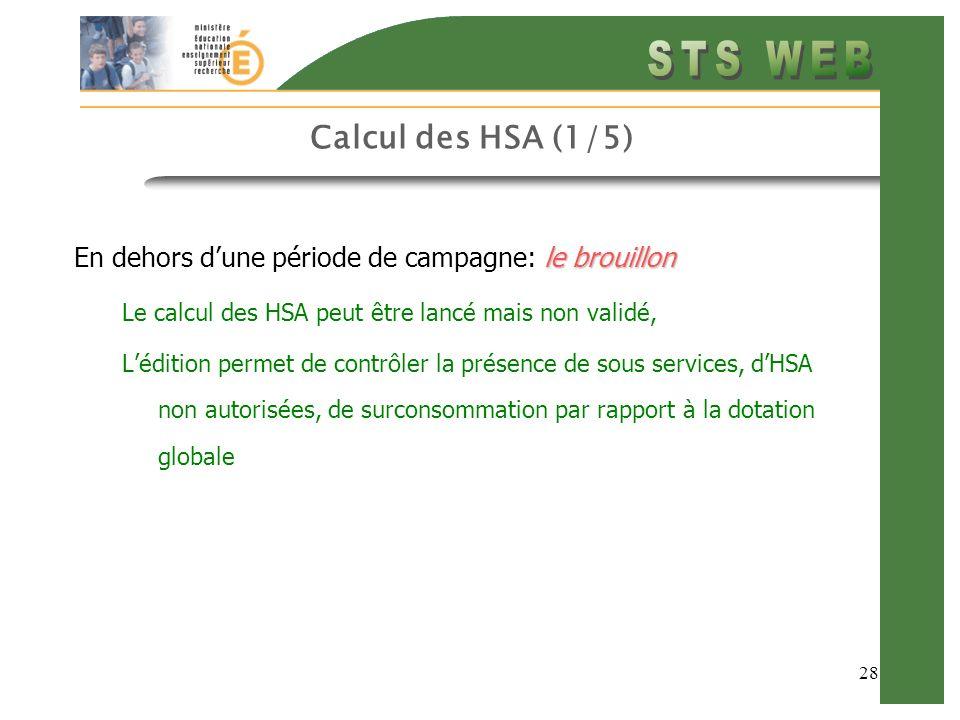 28 Calcul des HSA (1/5) le brouillon En dehors dune période de campagne: le brouillon Le calcul des HSA peut être lancé mais non validé, Lédition permet de contrôler la présence de sous services, dHSA non autorisées, de surconsommation par rapport à la dotation globale