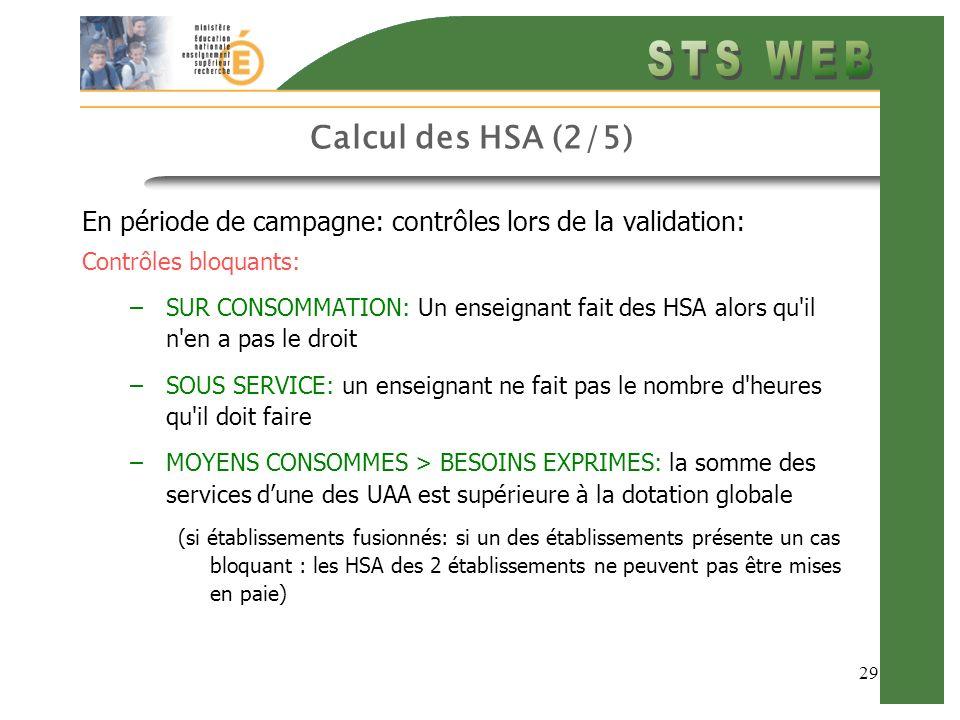 29 Calcul des HSA (2/5) En période de campagne: contrôles lors de la validation: Contrôles bloquants: –SUR CONSOMMATION: Un enseignant fait des HSA alors qu il n en a pas le droit –SOUS SERVICE: un enseignant ne fait pas le nombre d heures qu il doit faire –MOYENS CONSOMMES > BESOINS EXPRIMES: la somme des services dune des UAA est supérieure à la dotation globale (si établissements fusionnés: si un des établissements présente un cas bloquant : les HSA des 2 établissements ne peuvent pas être mises en paie)