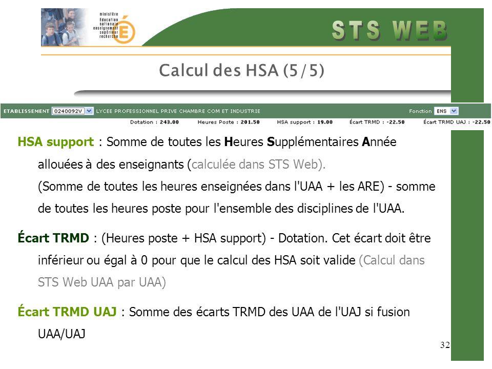 32 Calcul des HSA (5/5) HSA support : Somme de toutes les Heures Supplémentaires Année allouées à des enseignants (calculée dans STS Web).