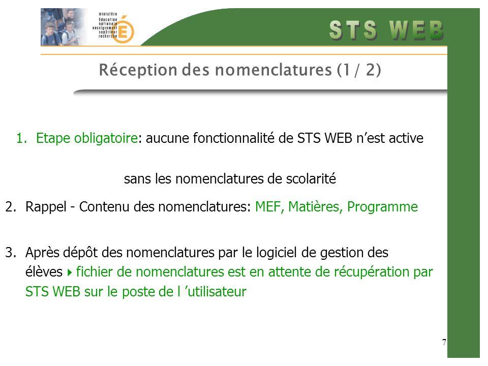 7 Réception des nomenclatures (1/ 2) 1.Etape obligatoire: aucune fonctionnalité de STS WEB nest active sans les nomenclatures de scolarité 2.Rappel - Contenu des nomenclatures: MEF, Matières, Programme 3.Après dépôt des nomenclatures par le logiciel de gestion des élèves fichier de nomenclatures est en attente de récupération par STS WEB sur le poste de l utilisateur