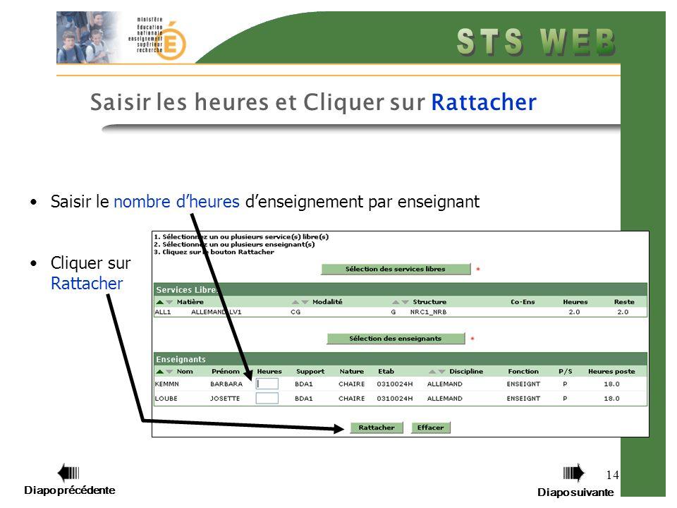 Diapo précédente Diapo suivante 14 Saisir les heures et Cliquer sur Rattacher Saisir le nombre dheures denseignement par enseignant Cliquer sur Rattacher Diapo précédente Diapo suivante