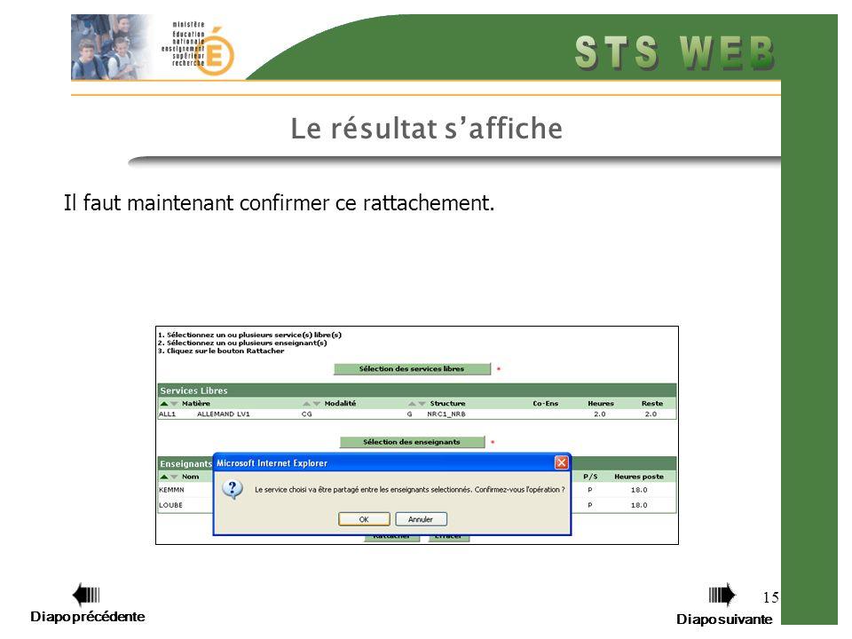 Diapo précédente Diapo suivante 15 Le résultat saffiche Il faut maintenant confirmer ce rattachement.