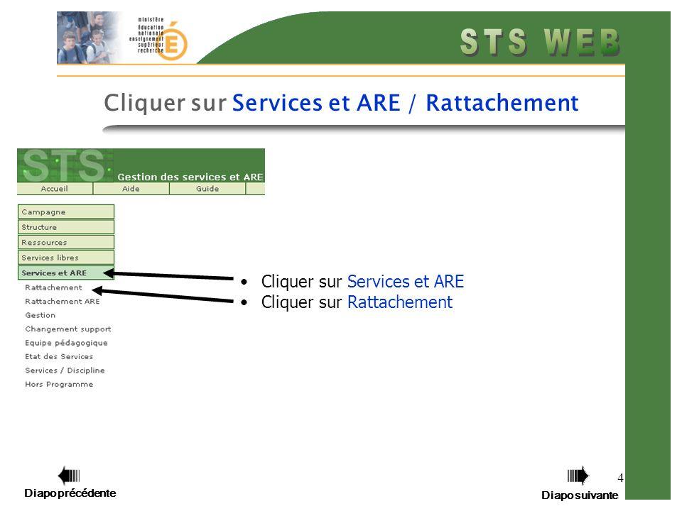 Diapo précédente Diapo suivante 4 Cliquer sur Services et ARE Cliquer sur Rattachement Diapo précédente Diapo suivante Cliquer sur Services et ARE / R