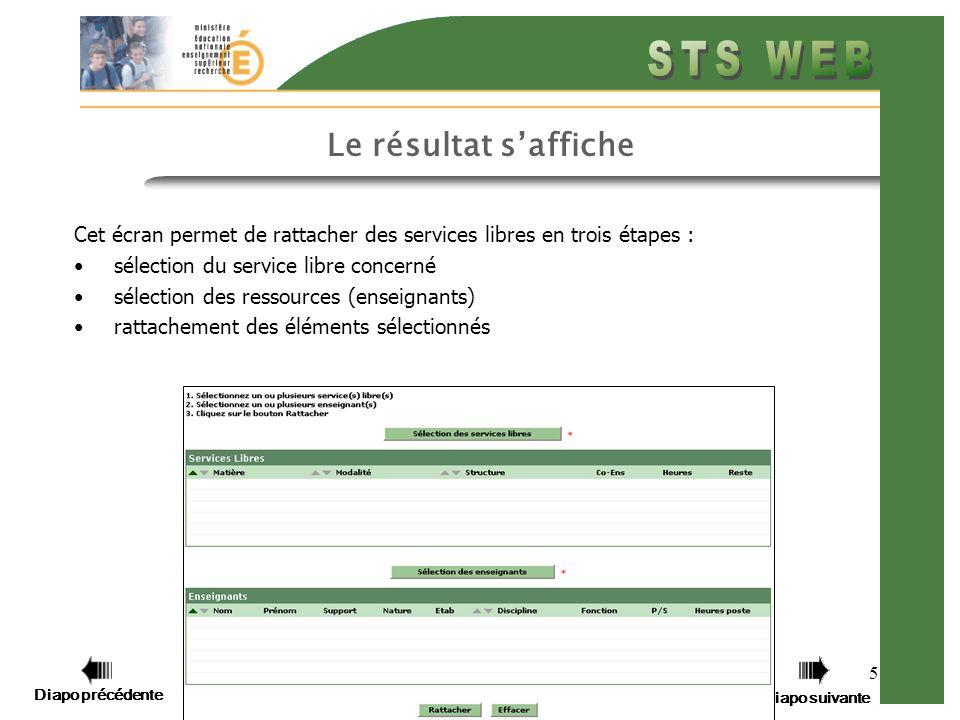 Diapo précédente Diapo suivante 5 Cet écran permet de rattacher des services libres en trois étapes : sélection du service libre concerné sélection des ressources (enseignants) rattachement des éléments sélectionnés Le résultat saffiche Diapo précédente Diapo suivante