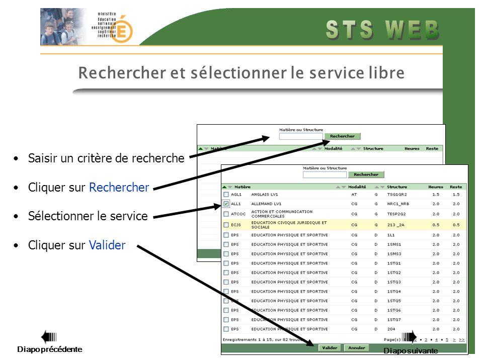 Diapo précédente Diapo suivante 8 Saisir un critère de recherche Cliquer sur Rechercher Sélectionner le service Cliquer sur Valider Rechercher et sélectionner le service libre Diapo précédente Diapo suivante
