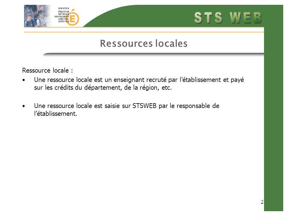2 Ressources locales Ressource locale : Une ressource locale est un enseignant recruté par létablissement et payé sur les crédits du département, de l