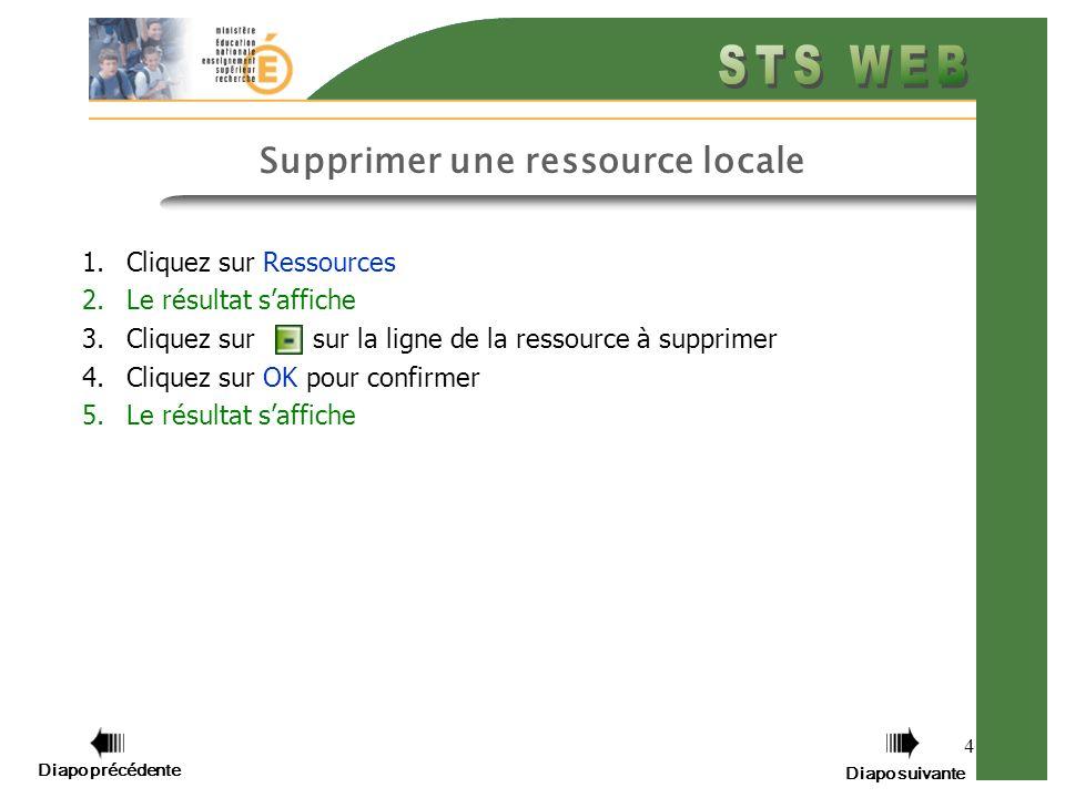 4 Supprimer une ressource locale 1.Cliquez sur Ressources 2.Le résultat saffiche 3.Cliquez sur sur la ligne de la ressource à supprimer 4.Cliquez sur