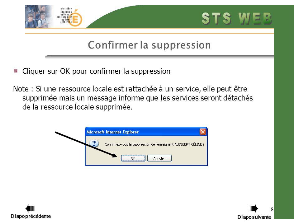 8 Cliquer sur OK pour confirmer la suppression Note : Si une ressource locale est rattachée à un service, elle peut être supprimée mais un message inf