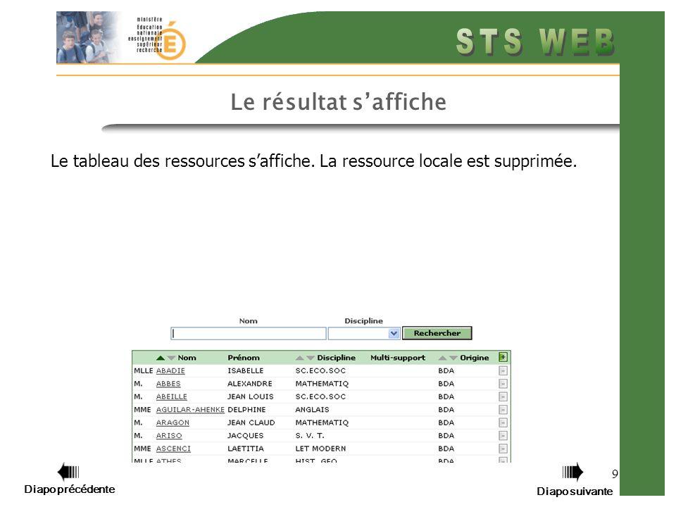 9 Le résultat saffiche Le tableau des ressources saffiche. La ressource locale est supprimée. Diapo précédente Diapo suivante