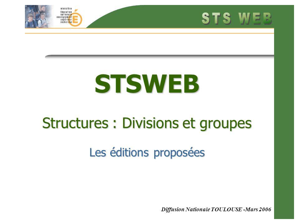 Diffusion Nationale TOULOUSE -Mars 2006 STSWEB Structures : Divisions et groupes Les éditions proposées
