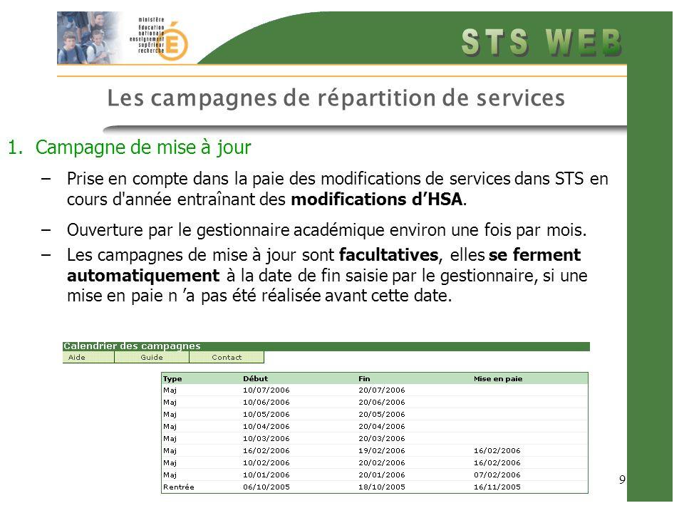 8 Les campagnes de répartition de services Les campagnes ne concernent que les HSA, les indemnités sont gérées au fil de la saisie 1.Campagne de rentrée: –première campagne de lannée scolaire –ne se ferme qu après la mise en paie des HSA dans STS même si la date de clôture est dépassée