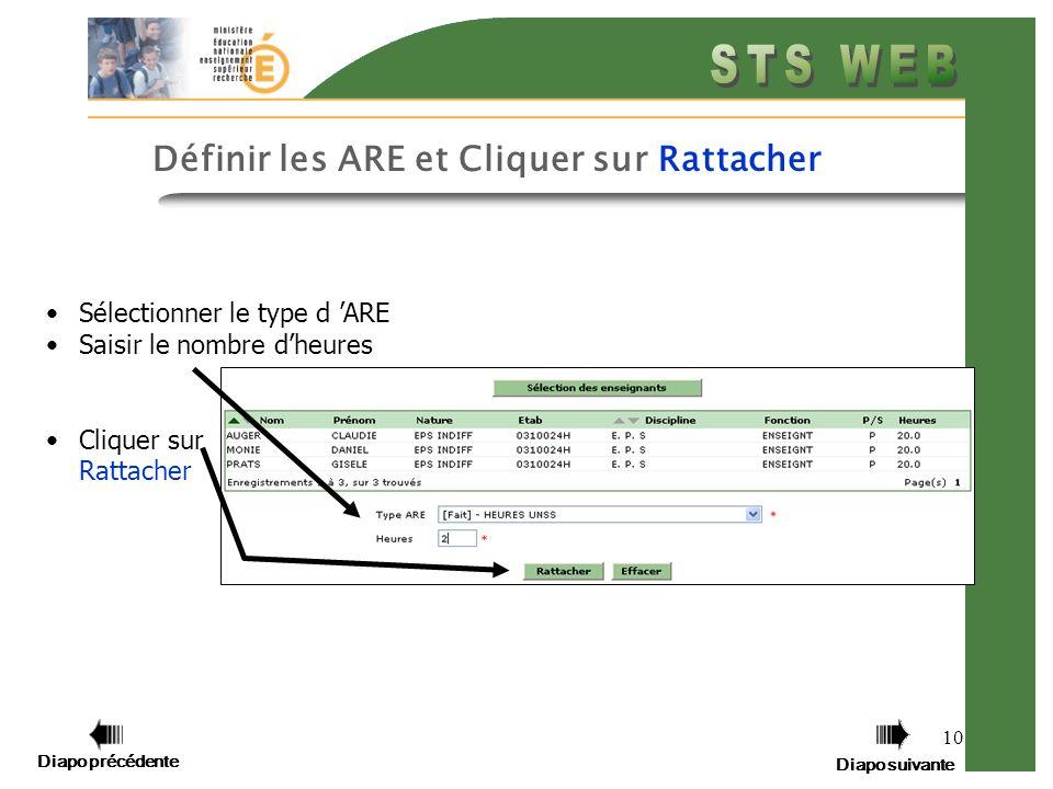 Diapo précédente Diapo suivante 10 Définir les ARE et Cliquer sur Rattacher Sélectionner le type d ARE Saisir le nombre dheures Cliquer sur Rattacher Diapo précédente Diapo suivante