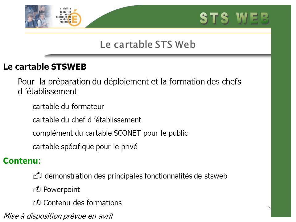 5 Le cartable STS Web Le cartable STSWEB Pour la préparation du déploiement et la formation des chefs d établissement cartable du formateur cartable d
