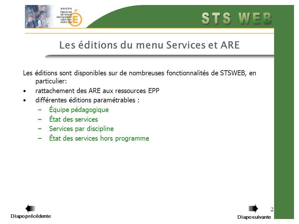 Diapo précédente Diapo suivante 2 Les éditions du menu Services et ARE Les éditions sont disponibles sur de nombreuses fonctionnalités de STSWEB, en p