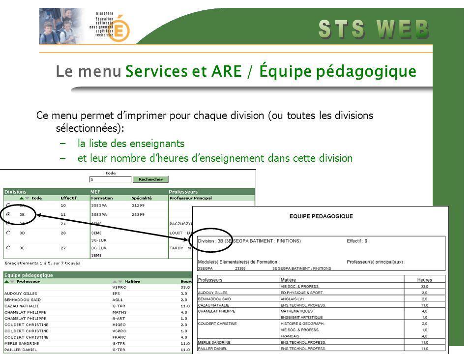 Diapo précédente Diapo suivante 3 Le menu Services et ARE / Équipe pédagogique Ce menu permet dimprimer pour chaque division (ou toutes les divisions sélectionnées): –la liste des enseignants –et leur nombre dheures denseignement dans cette division