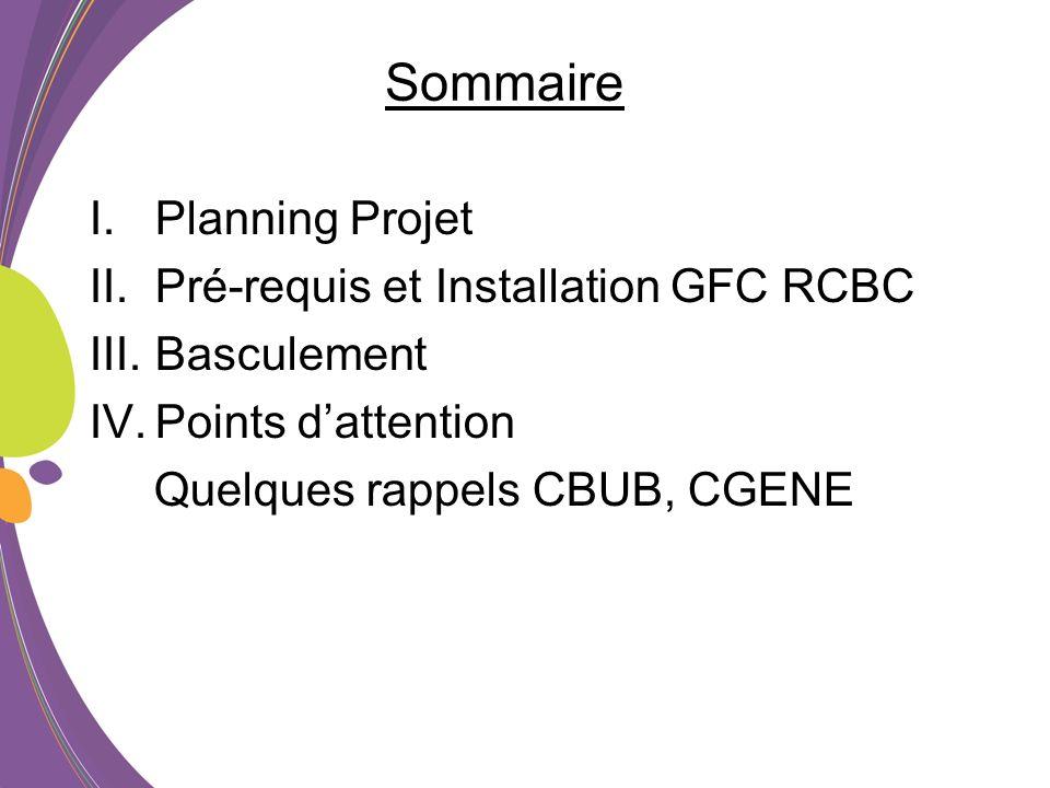 Sommaire I.Planning Projet II.Pré-requis et Installation GFC RCBC III.Basculement IV.Points dattention Quelques rappels CBUB, CGENE