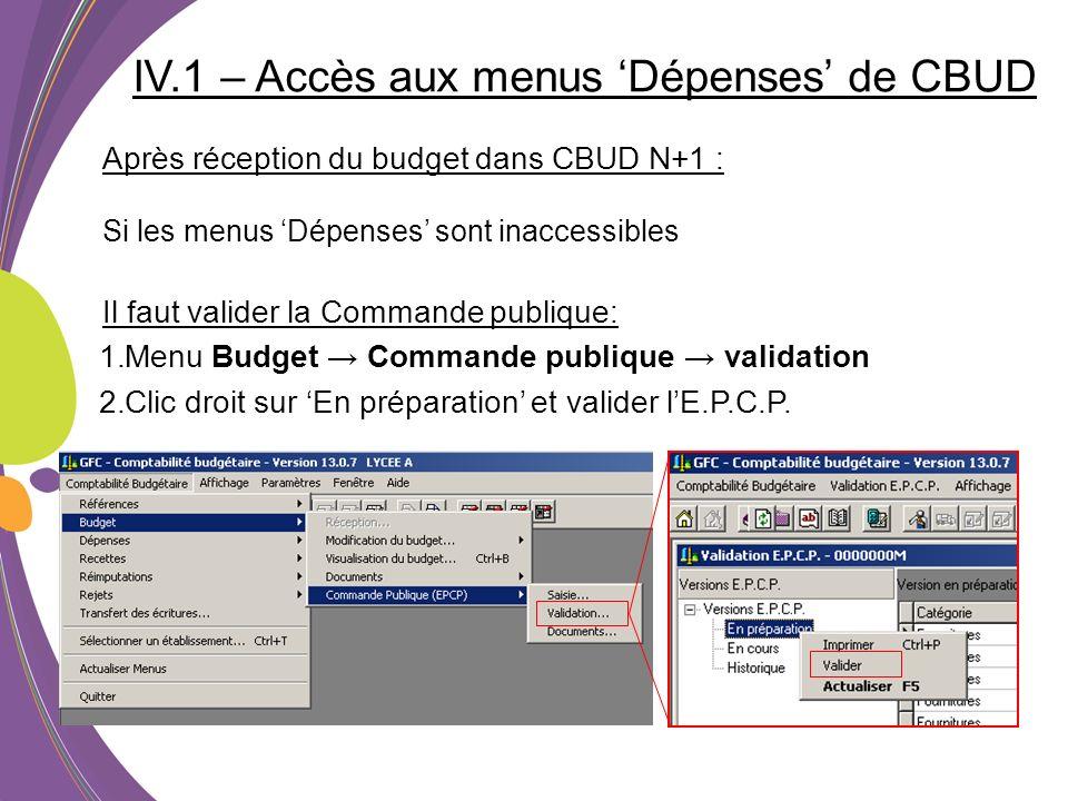 IV.1 – Accès aux menus Dépenses de CBUD Après réception du budget dans CBUD N+1 : Si les menus Dépenses sont inaccessibles Il faut valider la Commande