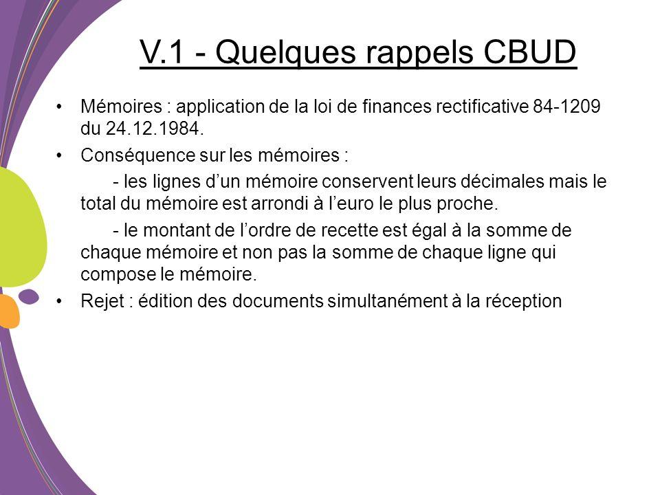 V.1 - Quelques rappels CBUD Mémoires : application de la loi de finances rectificative 84-1209 du 24.12.1984. Conséquence sur les mémoires : - les lig