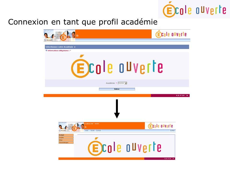 Connexion en tant que profil académie